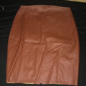 Brown leather pencil skirt size 4 NWT